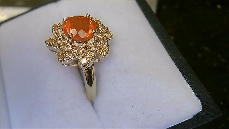 10K Yellow Gold Mexican Fire Opal & Citrine Ring Sz 5.75