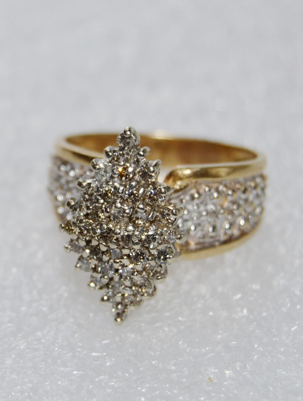 14K Yellow Gold Wide Set Vintage Inspired Marquise Shaped Diamond Cluster Ring