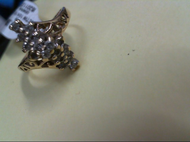 Lady's Diamond Cluster Ring 14 Diamonds .14 Carat T.W. 10K Yellow Gold 2.2g