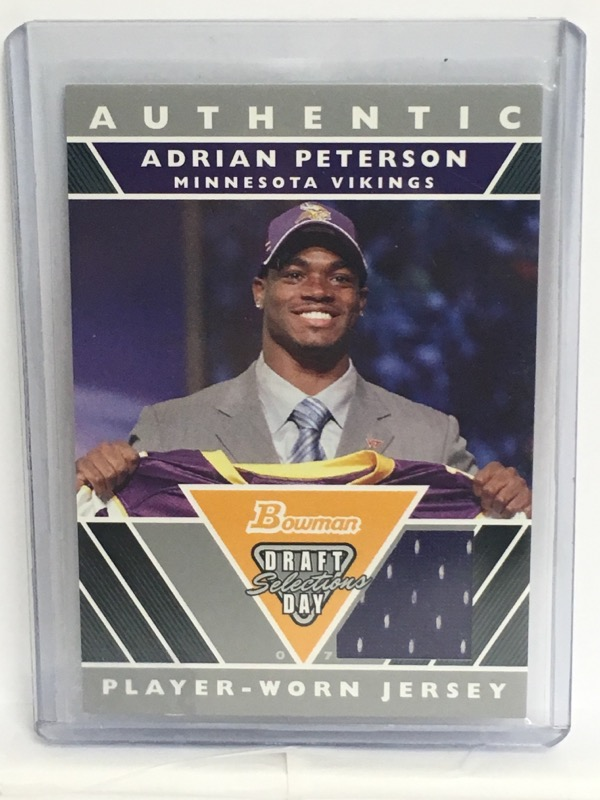 2007 Bowman Draft Day Selections Adrian Peterson Player Worn Jersey Relic Card