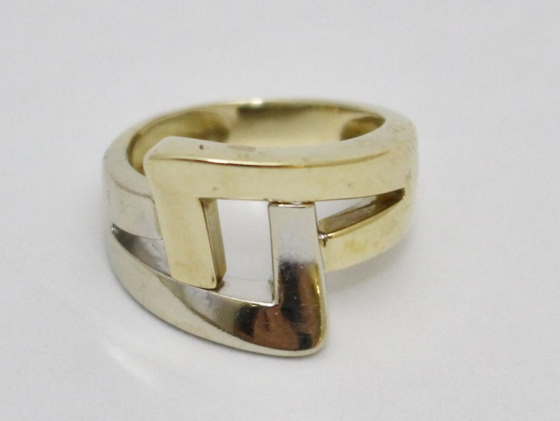 14K Two-Tone Yellow & White Gold Funky Split Shank Slanted Square Ring Size 5.25