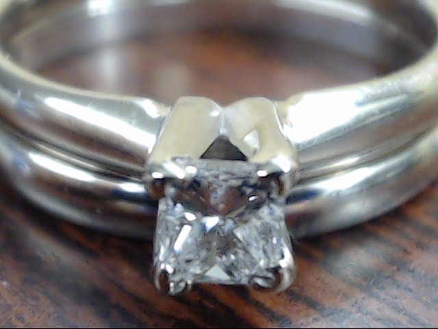 VINTAGE PRINCESS DIAMOND WEDDING SET RING BAND 10 WHITE GOLD SIZE 6