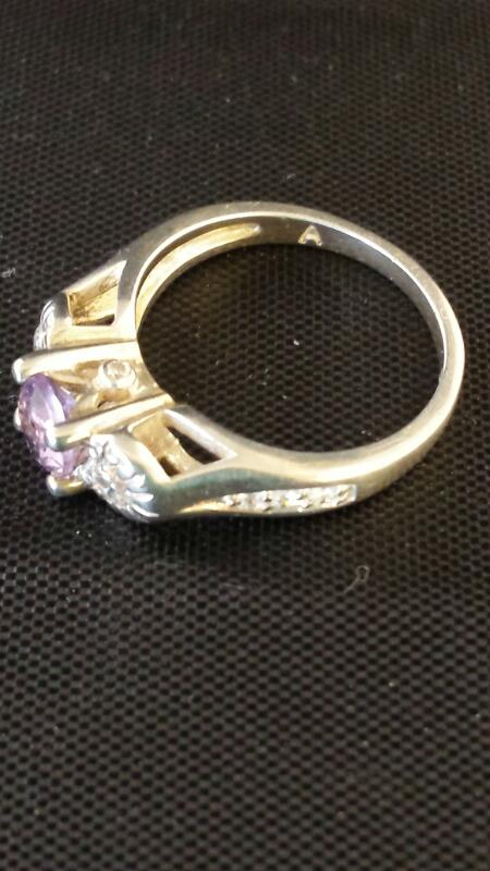 Synthetic Amethyst/cz Lady's Silver & Stone Ring 925 Silver 1.88dwt