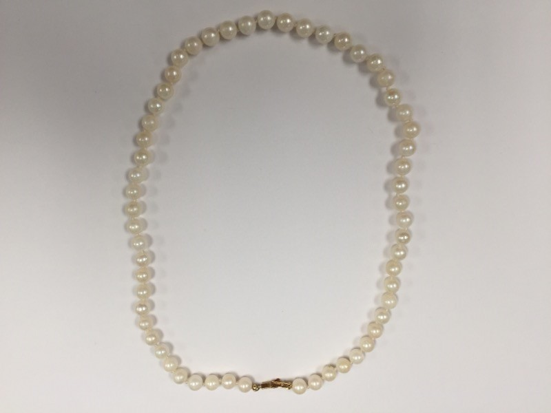 """16"""" Pearl Stone Necklace 14K Yellow Gold 20.9g 16"""""""