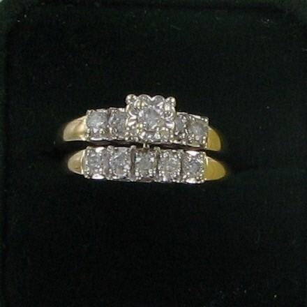 Lady's Diamond Wedding Set 10 Diamonds 1.05 Carat T.W. 14K Yellow Gold 5.2dwt