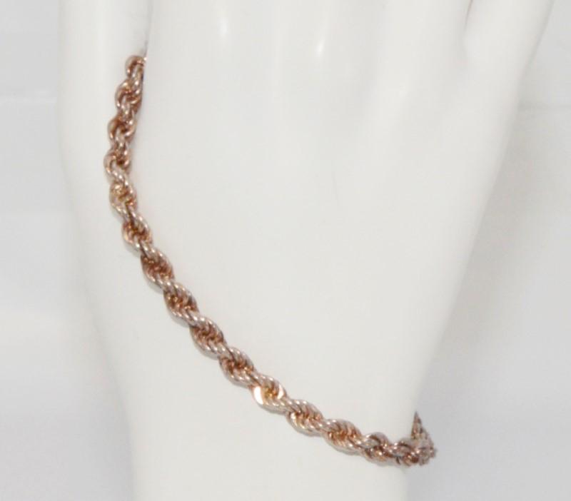 "8"" Sterling Silver Rope Chain Bracelet Anklet"