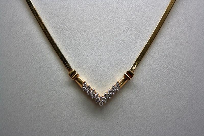 FASHION STYLE DIAMON NECKLACE 14K YELLOW GOLD