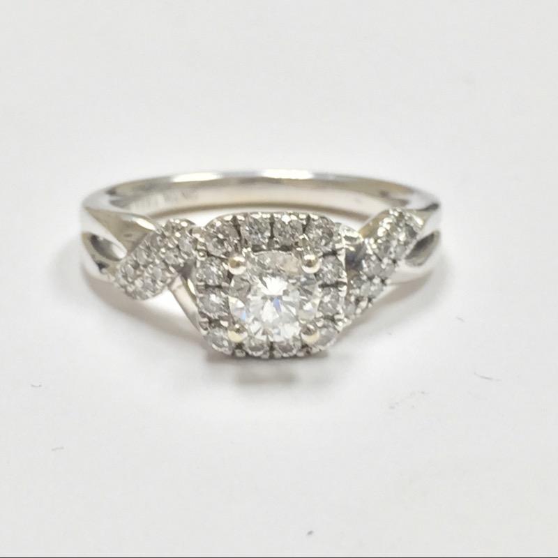 Lady's Diamond Engagement Ring 35 Diamonds .74 Carat T.W. 14K White Gold 3.3dwt