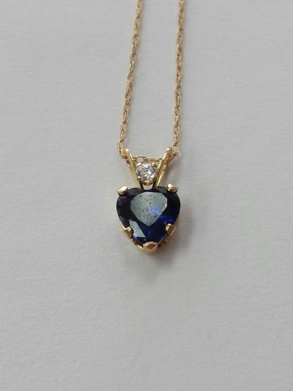 Blue Stone Gold-Diamond & Stone Pendant .05 CT. 14K Yellow Gold 0.8g