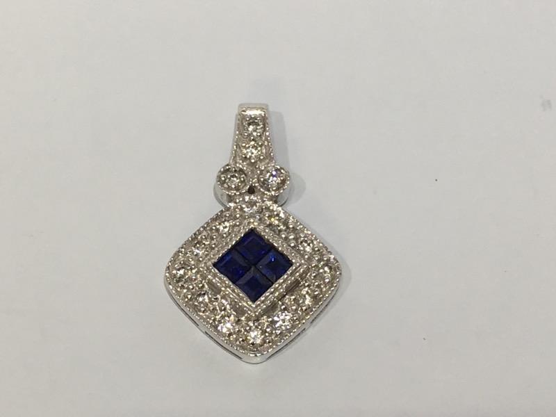 14K White Gold Diamond Encrusted Princess Sapphire Cluster Pendant