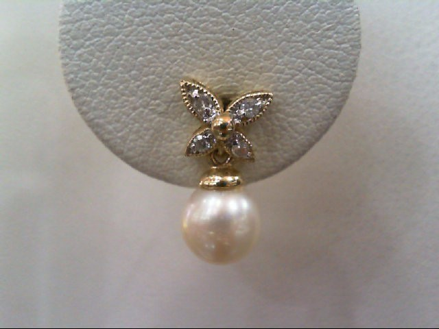 Pearl Gold-Diamond & Stone Earrings 8 Diamonds .08 Carat T.W. 14K Yellow Gold