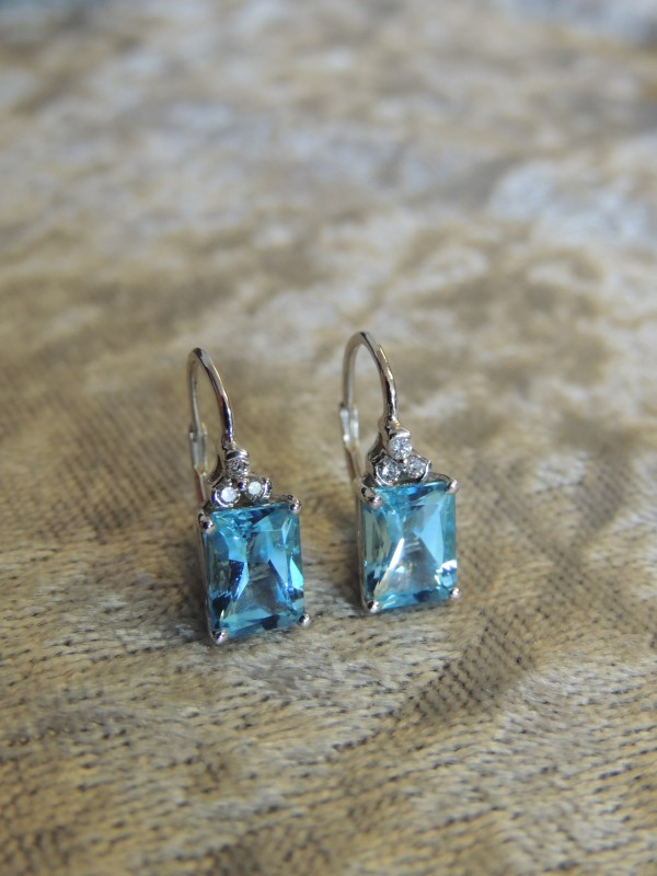 Synthetic Blue Topaz Gold-Diamond & Stone Earrings 6 Diamonds .06 Carat T.W.