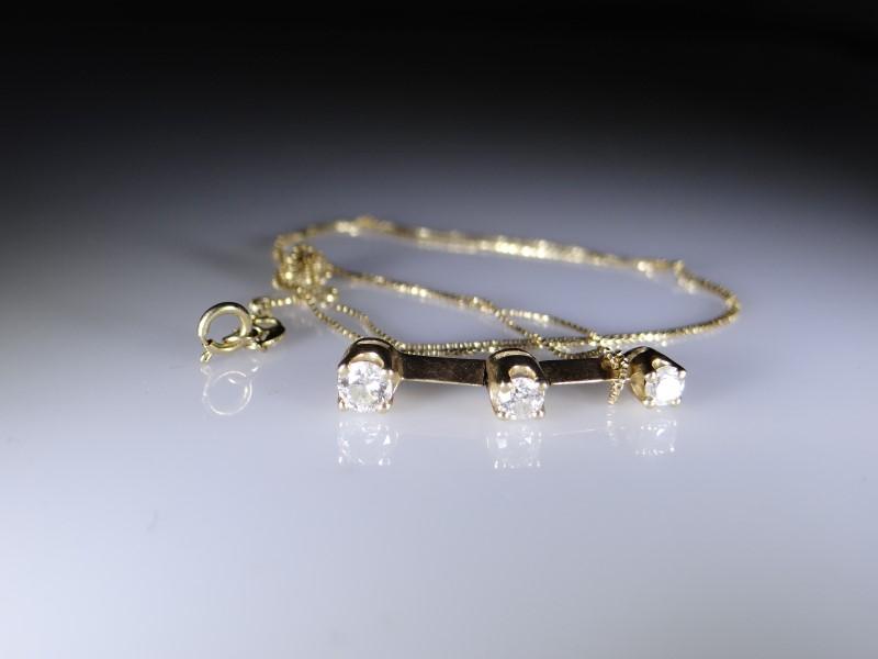 Diamond Necklace 3 Diamonds .32 Carat T.W. 14K Yellow Gold 2g