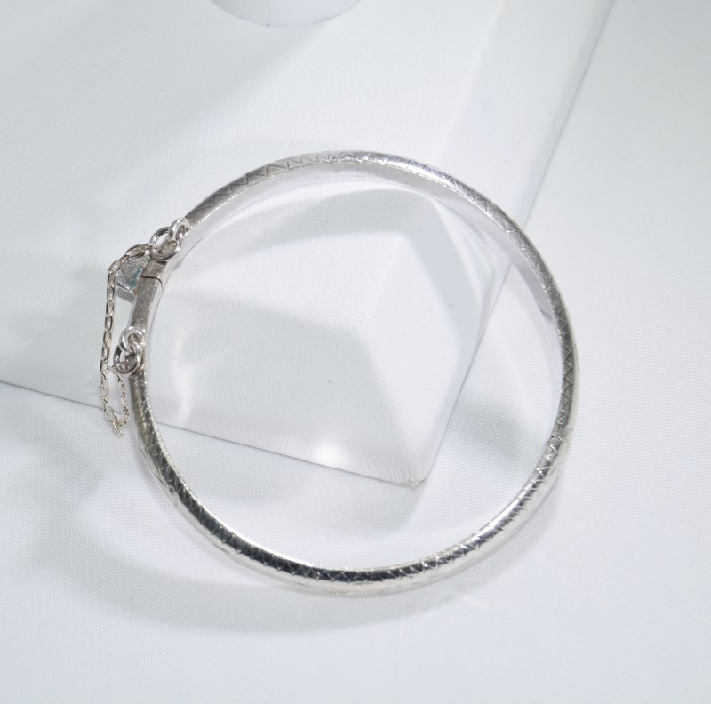 Sterling Silver Children's Baby Diamond Cut Etched Bangle Bracelet