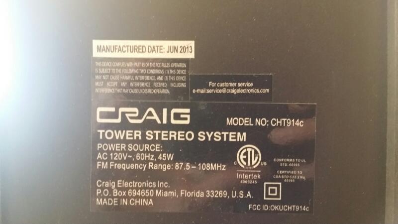 CRAIG Home Audio Parts & Accessory CHT914C