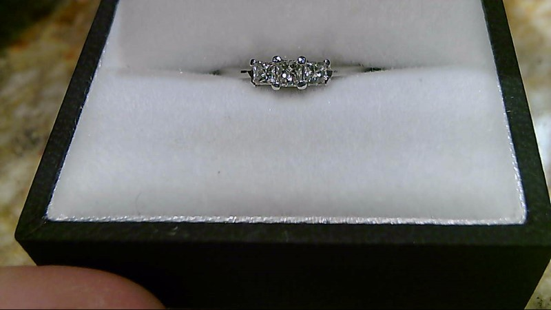 Lady's Diamond Engagement Ring 3 Diamonds .35 Carat T.W. 14K White Gold 1.9g