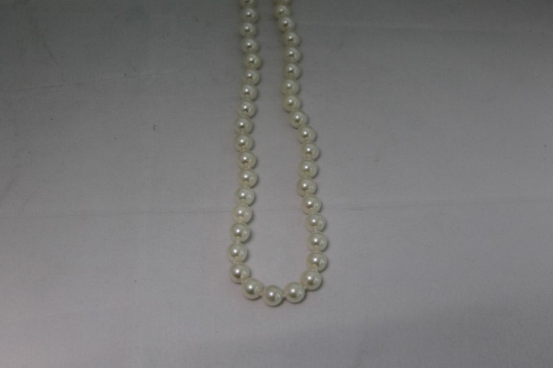 White Pearl and Round Diamond 14K Yellow Gold Necklace YG