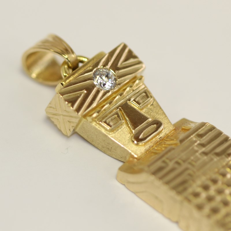 Custom Made 18K Yellow Gold Diamond Solitaire Medicine Man Pendant