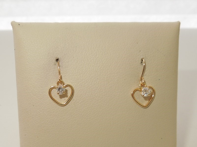 Synthetic Cubic Zirconia Gold-Stone Earrings 10K Yellow Gold 0.4g