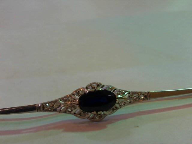 Synthetic Sapphire Gold-Diamond-Stone Brooch 14 Diamonds .14 Carat T.W.