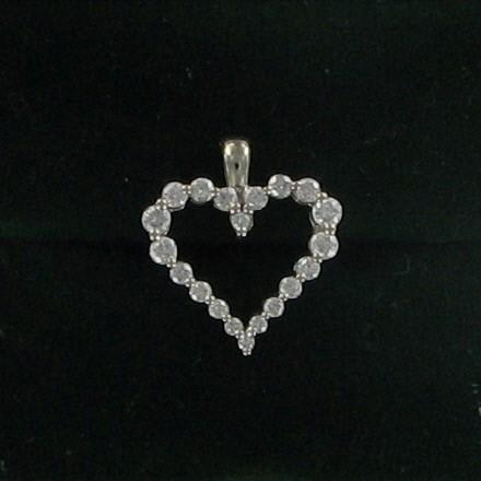 Gold-Multi-Diamond Pendant 20 Diamonds .42 Carat T.W. 14K White Gold 1.1dwt