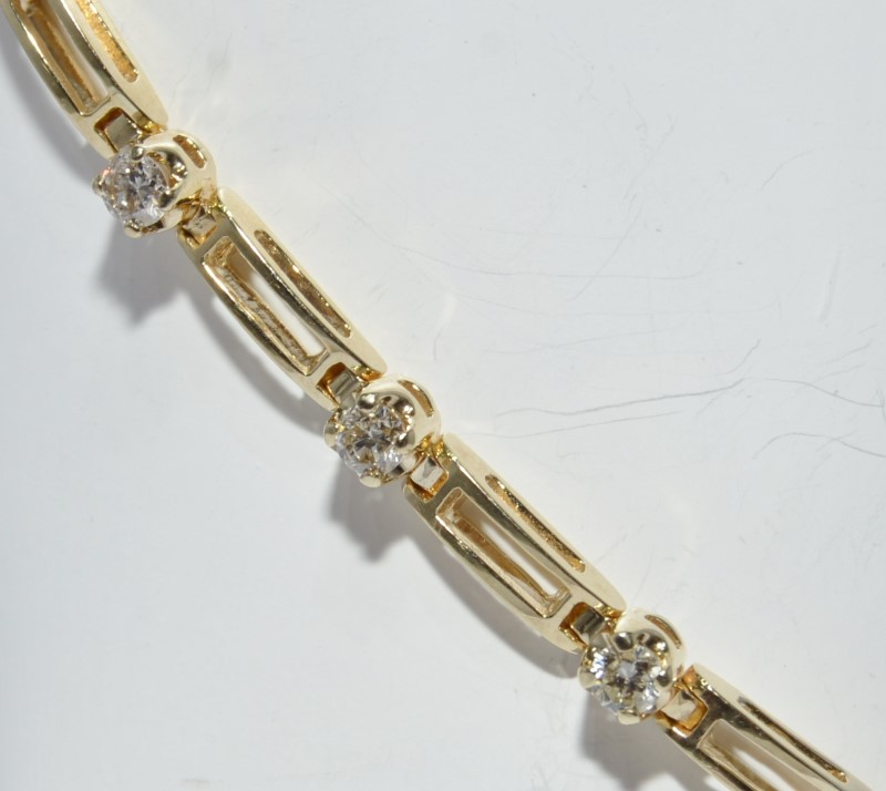 "7.5"" 14K Yellow Gold Round Diamond & Bar Tennis Bracelet w/ Safety Chain"