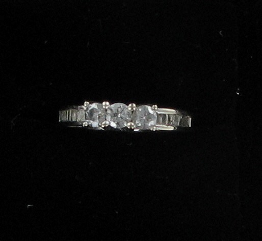 Lady's Diamond Wedding Band 3 Diamonds .45 Carat T.W. 10K White Gold 2.3dwt