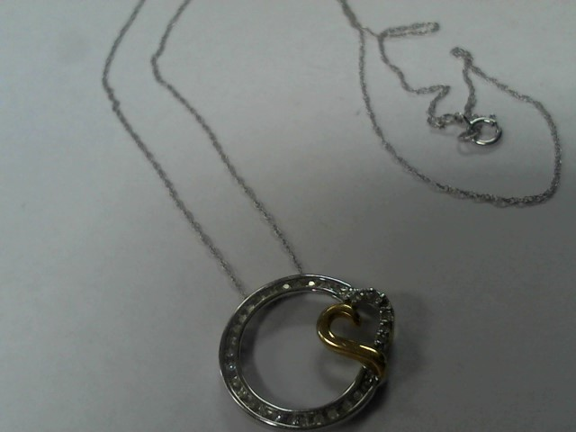 Diamond Necklace 35 Diamonds .35 Carat T.W. 10K 2 Tone Gold 1.6g