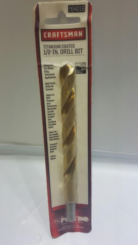 "*NEW* Craftsman 9 64016 1/2"" Titanium Coated Drill Bit"