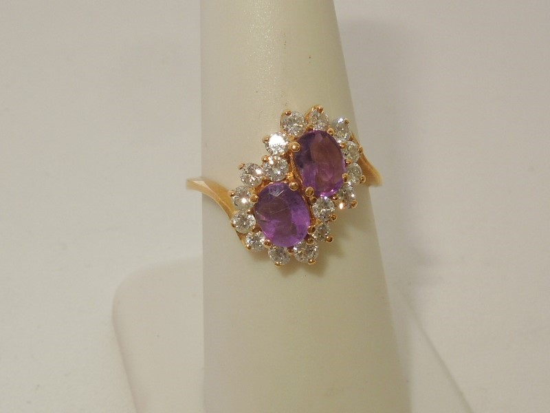 Synthetic Amethyst Lady's Stone & Diamond Ring 16 Diamonds .48 Carat T.W.