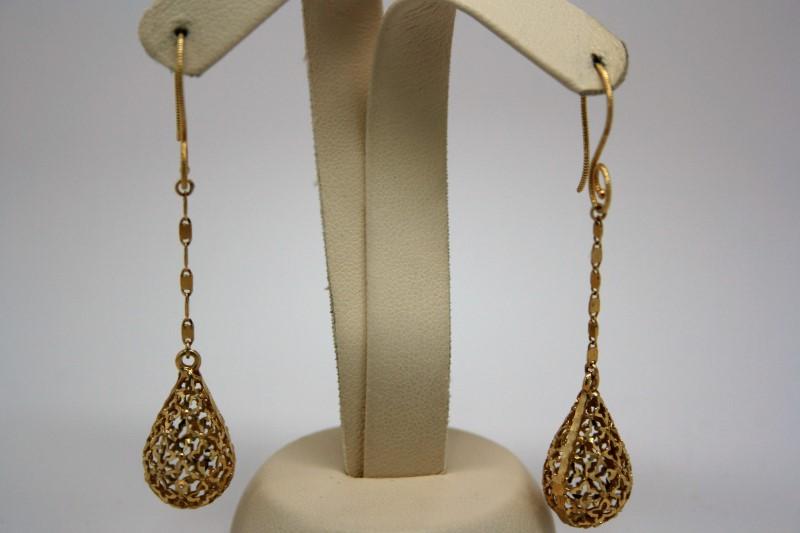 DANGLE STYLE EARRINGS 14K YELLOW GOLD