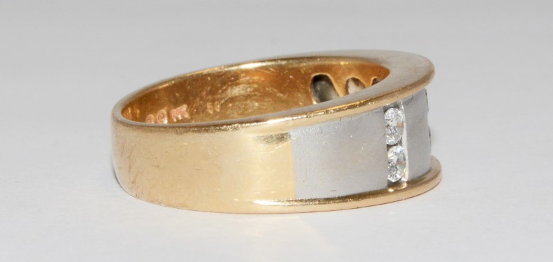 MENS DIAMOND WEDDING BAND .48 CARAT T.W. 14K 2 TONE GOLD SIZE 10.5