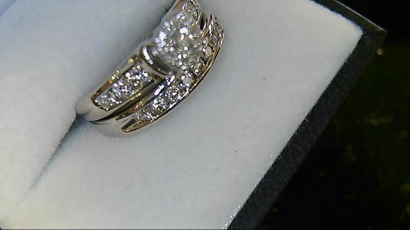 Lady's 10K White Gold Round Diamond Cluster Wedding Set
