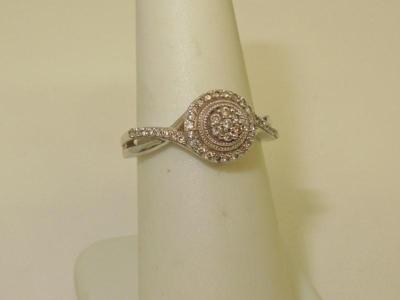 Lady's Diamond Cluster Ring 46 Diamonds .265 Carat T.W. 10K White Gold 2.8g