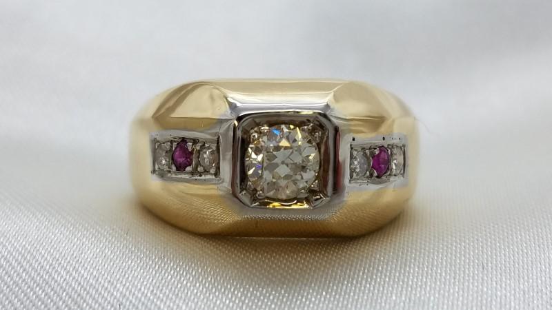Diamond & Stone Mens Ring 1 Diam 0.60 CW K-I1 4 Diam .16 TCW 0.76 14K