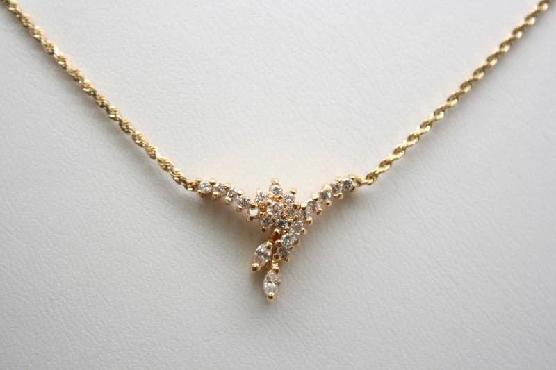FASHION STYLE DIAMOND NECKLACE 14K YELLOW GOLD