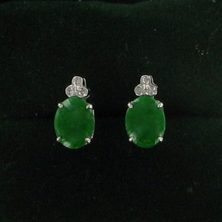 Green Stone Gold-Diamond & Stone Earrings 6 Diamonds .06 Carat T.W.