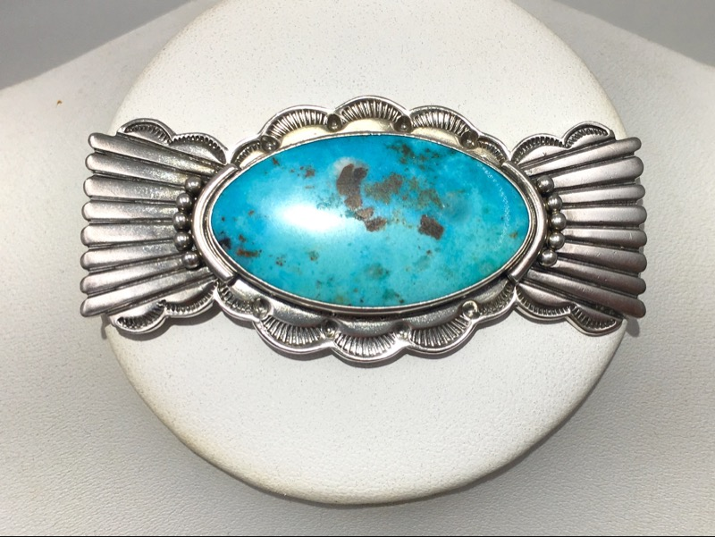 RAY TRACEY Navajo Sterling Silver/ Turquoise Brooch - Beautiful