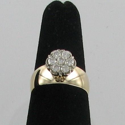 Lady's Diamond Cluster Ring 7 Diamonds .70 Carat T.W. 14K Yellow Gold 2.7dwt