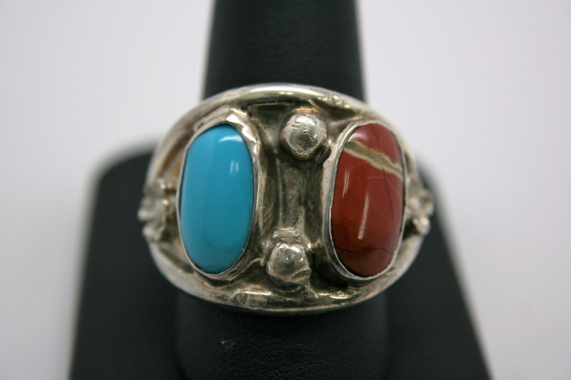 TURQUOISE & CORAL SILVER RING 14.5