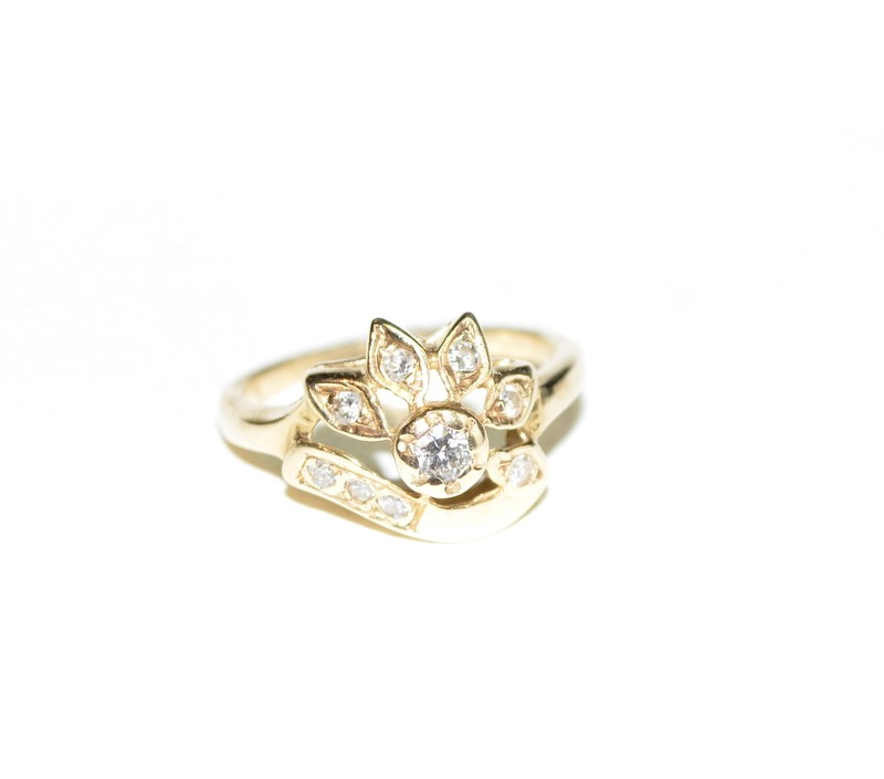 Lady's Diamond Fashion Ring 9 Diamonds .36 Carat T.W. 14K Yellow Gold 3.3g