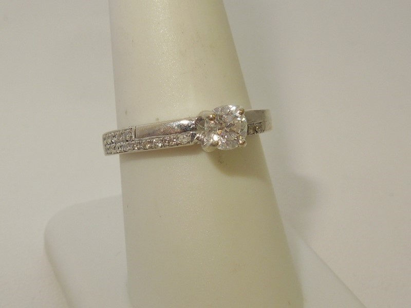 Lady's Diamond Engagement Ring 18 Diamonds .50 Carat T.W. 14K White Gold 5.2g