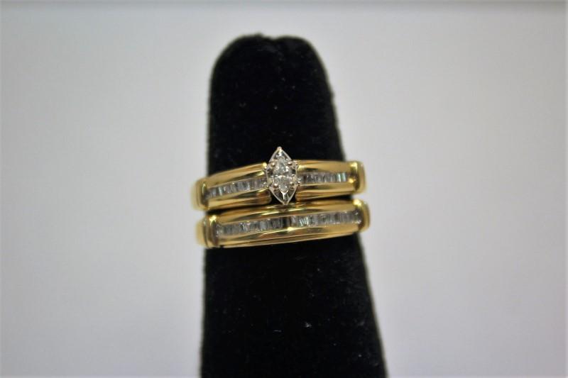 Lady's Diamond Wedding Set 37 Diamonds .44 Carat T.W. 14K Yellow Gold 6.5g