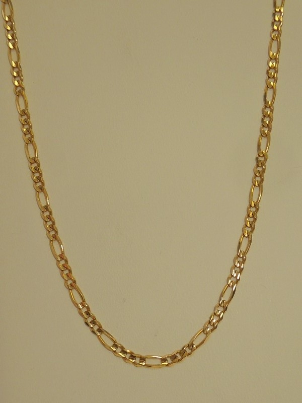 "20"" Gold Figaro Chain 14K Yellow Gold 8.4g"