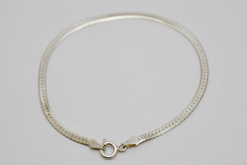 "7"" Sterling Silver Polished 2.5mm Italian Herringbone Bracelet"