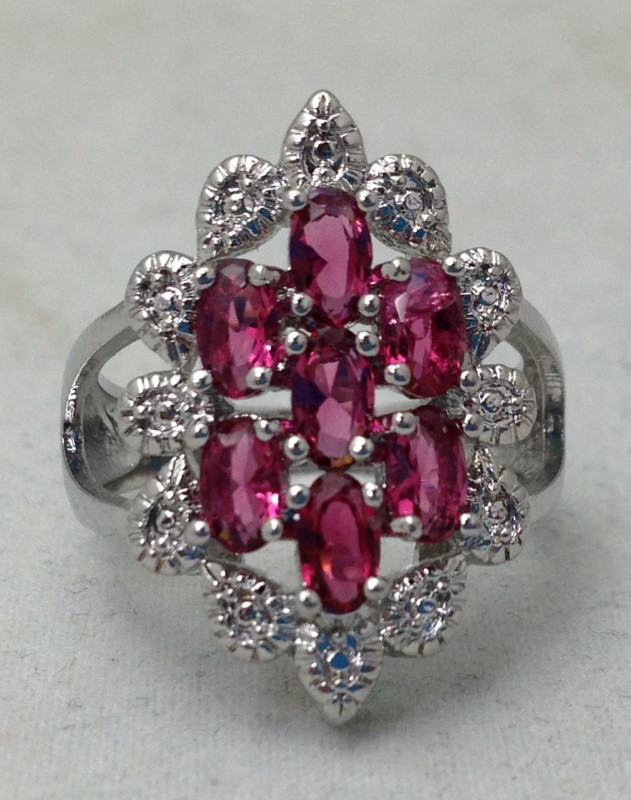 Sterling Silver Floral White and Rubellite Ring