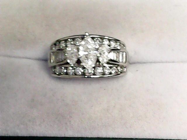 Lady's Diamond Engagement Ring 35 Diamonds 2.06 Carat T.W. 14K White Gold