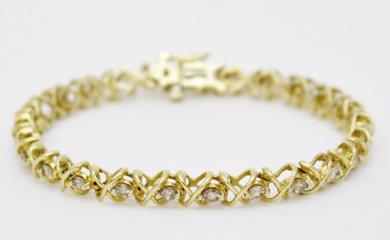 "6"" 14k Yellow Gold X & O Style Round Diamond Tennis Bracelet"