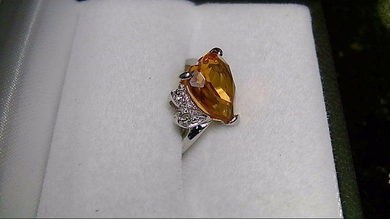 Synthetic Citrine Lady's Stone & Diamond Ring 2 Diamonds .02 Carat T.W.