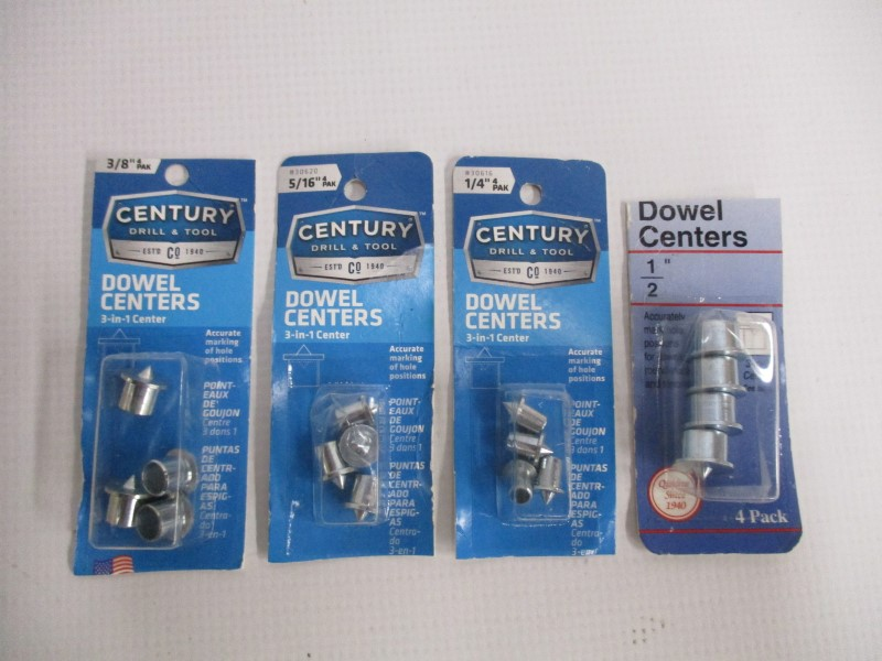 LOT OF 4 CENTURY DOWEL CENTERS 4 PAKS